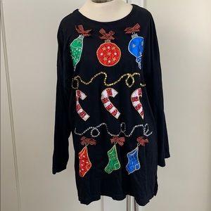 Ugly Christmas long sleeve shirt sequins